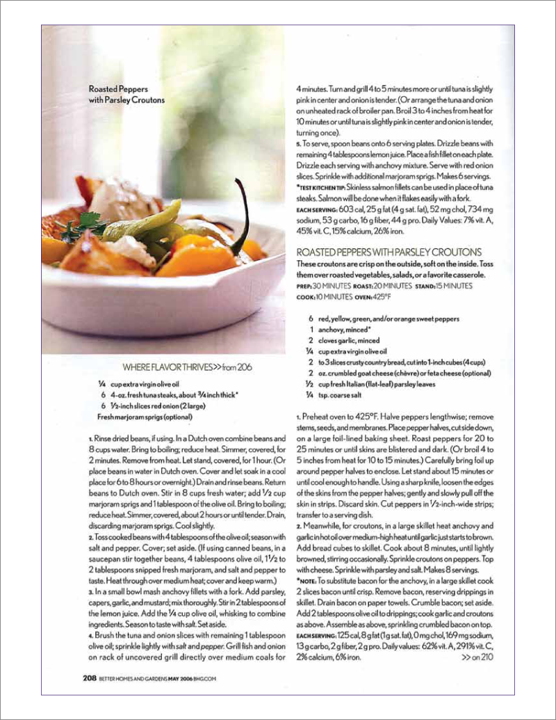 Page 13 of 14. Better Homes and Garden magazine article Where Flavor Thrives.