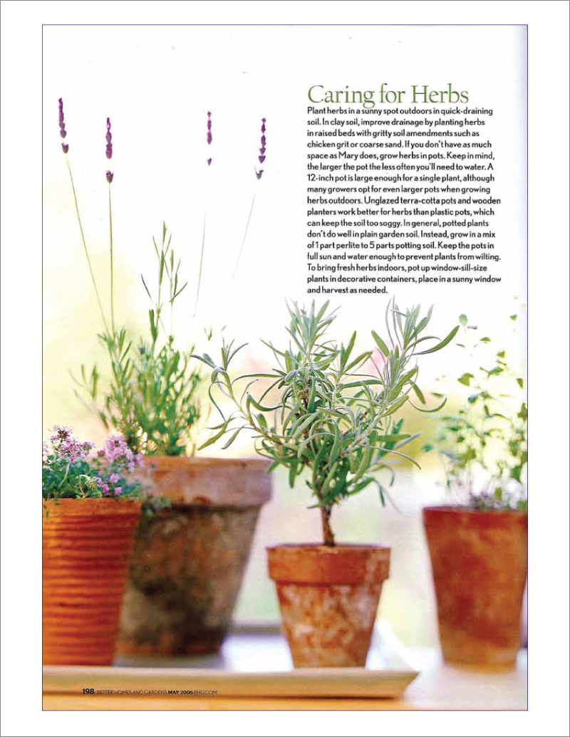 Page 6 of 14. Better Homes and Garden magazine article Where Flavor Thrives.