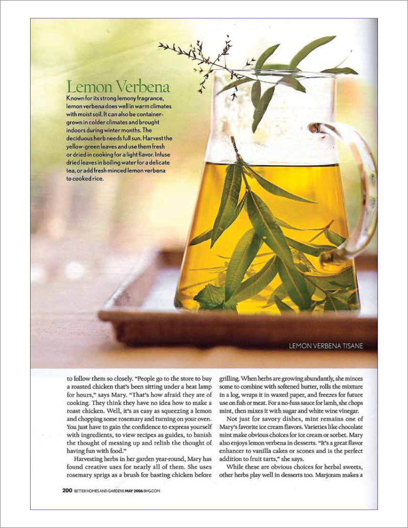 Page 8 of 14. Better Homes and Garden magazine article Where Flavor Thrives.